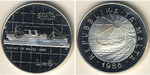 5 Lira Malta Silver