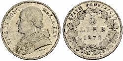 5 Lira Papal States (752-1870) Silver Pope Pius IX (1792- 1878)