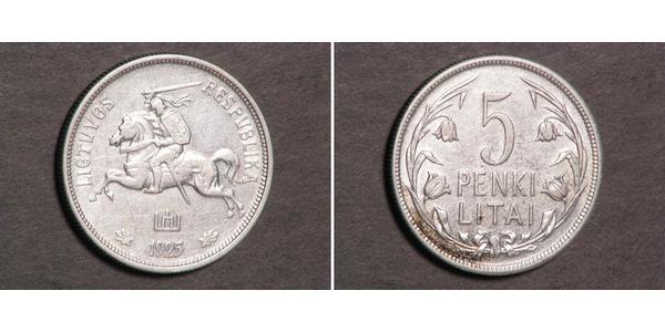 5 Litas Lituania (1991 - ) Argento