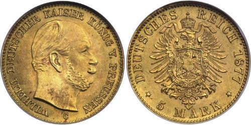 5 Mark 普魯士王國 (1701 - 1918) 金 威廉一世 (德国)