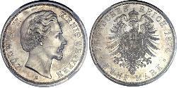 5 Mark 巴伐利亞王國 (1806 - 1918) 銀 路德维希二世 (巴伐利亚)