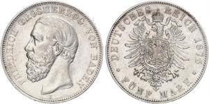5 Mark 巴登大公國 (1806 - 1918) 銀 弗里德里希一世 (巴登)