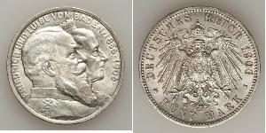 5 Mark 德意志帝國 (1871 - 1918) / 巴登大公國 (1806 - 1918) 銀 弗里德里希一世 (巴登)