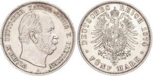 5 Mark 普魯士王國 (1701 - 1918) 銀 威廉一世 (德国)