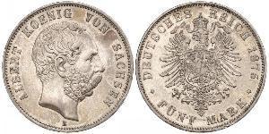5 Mark 萨克森王国 (1806 - 1918) 銀 阿尔贝特 (萨克森)