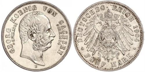5 Mark 萨克森王国 (1806 - 1918) 銀 格奥尔格 (萨克森)