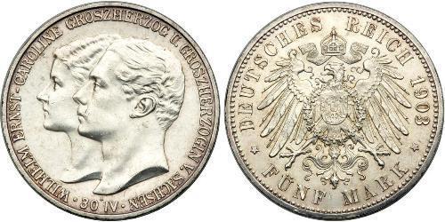 5 Mark 萨克森-魏玛-艾森纳赫 (1809 - 1918) 銀 威廉·恩斯特 (萨克森-魏玛-艾森纳赫)