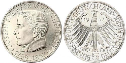 5 Mark 西德 (1949 - 1990) 銀 约瑟夫·冯·艾兴多夫