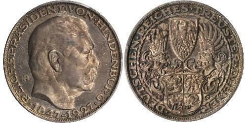 5 Mark 魏瑪共和國 (1919 - 1933) 銀 保罗·冯·兴登堡 (1847 - 1934)
