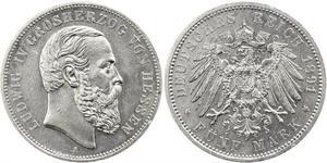 5 Mark 黑森-达姆施塔特 (1806 - 1918) 銀 路德维希四世 (黑森大公)