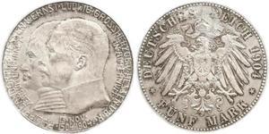5 Mark 黑森-达姆施塔特 (1806 - 1918) 銀 恩斯特·路德维希 (黑森大公) (1868 - 1937)