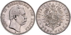 5 Mark 黑森-达姆施塔特 (1806 - 1918) 銀 路德维希三世 (黑森大公)