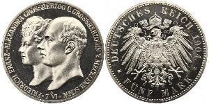 5 Mark Duchy of Mecklenburg-Schwerin (1352-1918) 銀 Frederick Francis IV, Grand Duke of Mecklenburg (1882 - 1945)