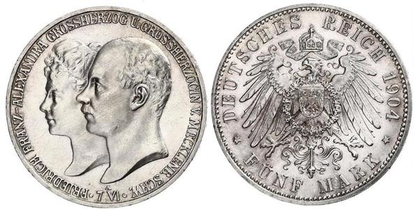 5 Mark Duchy of Mecklenburg-Schwerin (1352-1918) 銀 Frederick Francis IV, Grand Duke of Mecklenburg (1882 - 1945)