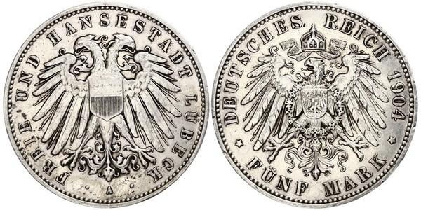 5 Mark Free City of Lübeck 銀