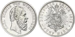 5 Mark Kingdom of Württemberg (1806-1918) 銀 卡尔一世 (符腾堡)