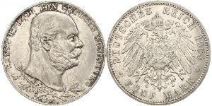 5 Mark Duché de Saxe-Altenbourg  (1826 - 1920) Argent Ernest Ier de Saxe-Altenbourg (1826 - 1908)