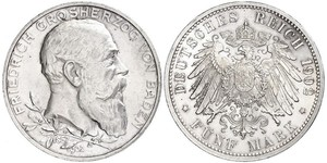 5 Mark Empire allemand (1871-1918) / Grand-duché de Bade (1806-1918) Argent Frédéric Ier de Bade (1826-1907) (1826 - 1907)