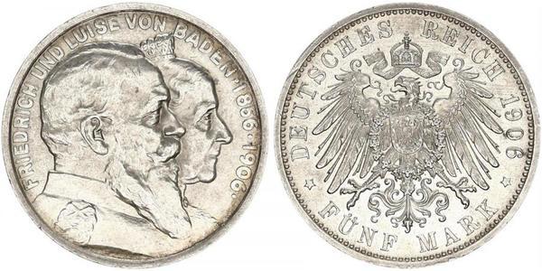 5 Mark Empire allemand (1871-1918) / Grand-duché de Bade (1806-1918) Argent Frédéric Ier de Bade (1826-1907) (1826 - 1907)