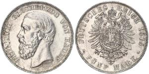 5 Mark Grand-duché de Bade (1806-1918) Argent Frédéric Ier de Bade (1826-1907) (1826 - 1907)