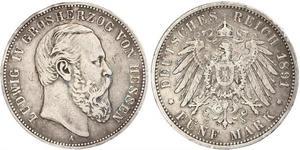 5 Mark Grand-duché de Hesse (1806 - 1918) Argent Louis IV (grand-duc de Hesse)