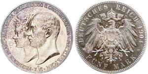 5 Mark Grand-duché de Mecklembourg-Schwerin (1352-1918) Argent Frederick Francis IV, Grand Duke of Mecklenburg (1882 - 1945)