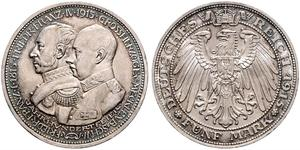 5 Mark Grand-duché de Mecklembourg-Schwerin (1352-1918) Argent Frederick Francis IV, Grand Duke of Mecklenburg (1882 - 1945)
