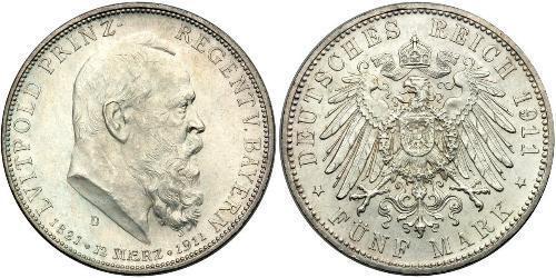 5 Mark Royaume de Bavière (1806 - 1918) Argent Othon Ier de Bavière(1848 – 1916)
