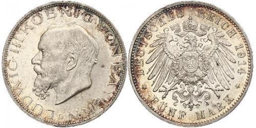 5 Mark Royaume de Bavière (1806 - 1918) Argent Louis III de Bavière (1845 – 1921)