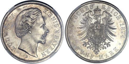 5 Mark Royaume de Bavière (1806 - 1918) Argent Louis II de Bavière (1845-1886)(1845 – 1886)