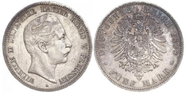 5 Mark Royaume de Prusse (1701-1918) Argent Wilhelm II, German Emperor (1859-1941)