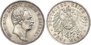 5 Mark Royaume de Saxe (1806 - 1918) Argent Frédéric-Auguste III de Saxe (1865-1932)