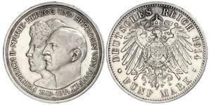5 Mark Anhalt-Dessau (1603 -1863) Argento Federico II di Anhalt(1856 – 1918)
