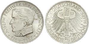 5 Mark Germania Ovest (1949-1990) Argento Joseph Freiherr von Eichendorff