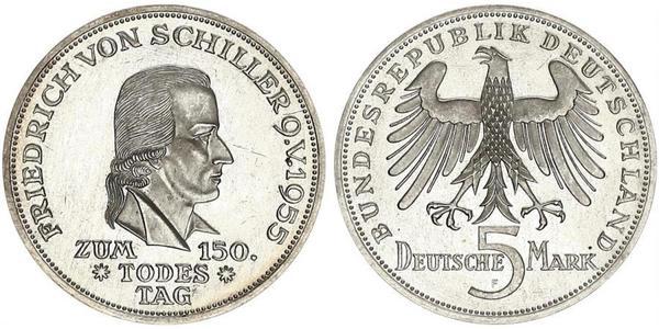5 Mark Germania Ovest (1949-1990) Argento Friedrich Schiller