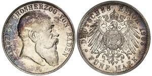 5 Mark Grand Duchy of Baden (1806-1918) Argento Federico I di Baden (1826 - 1907)