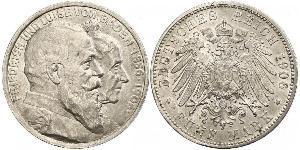 5 Mark Grand Duchy of Baden (1806-1918) / Impero tedesco (1871-1918) Argento Federico I di Baden (1826 - 1907)