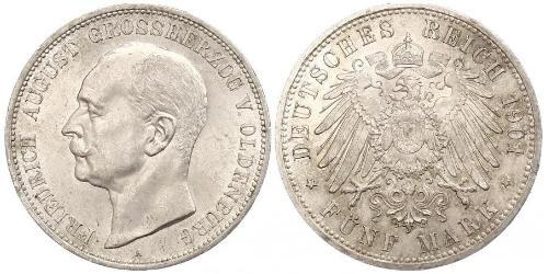 5 Mark Grand Duchy of Oldenburg (1814 - 1918) Argento Federico Augusto III di Sassonia (1865-1932)