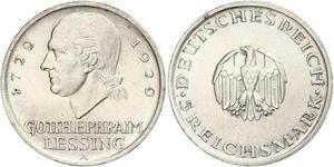 5 Mark Impero tedesco (1871-1918) Argento Gotthold Ephraim Lessing