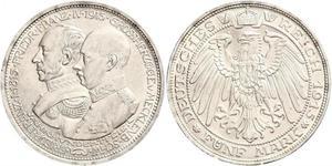 5 Mark Meclemburgo-Schwerin (1352-1918) Argento Frederick Francis IV, Grand Duke of Mecklenburg (1882 - 1945)