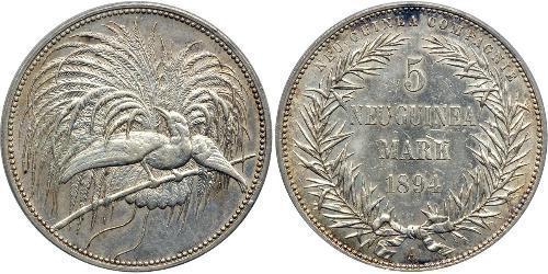 5 Mark Nuova Guinea Argento