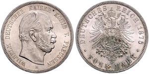 5 Mark Regno di Prussia (1701-1918) Argento Wilhelm I, German Emperor (1797-1888)