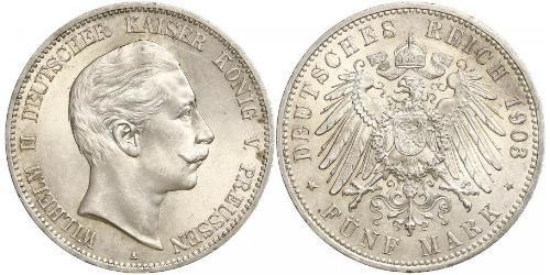 5 Mark Regno di Prussia (1701-1918) Argento Wilhelm II, German Emperor (1859-1941)