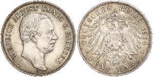 5 Mark Regno di Sassonia (1806 - 1918) Argento Federico Augusto III di Sassonia (1865-1932)