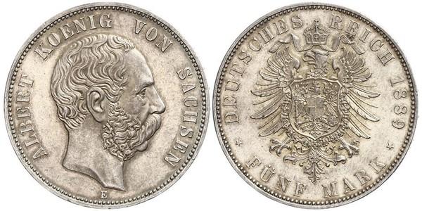 5 Mark Regno di Sassonia (1806 - 1918) Argento Alberto di Sassonia