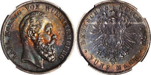 5 Mark Regno di Württemberg (1806-1918) Argento Carlo di Württemberg