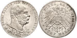 5 Mark Sassonia-Altenburg  (1826 - 1920) Argento Ernesto I di Sassonia-Altenburg (1826 - 1908)