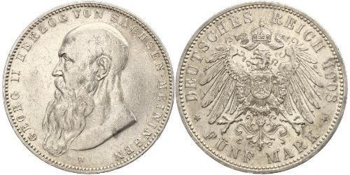5 Mark Sassonia-Meiningen (1680 - 1918) Argento Giorgio II di Sassonia-Meiningen