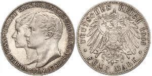 5 Mark Sassonia-Weimar-Eisenach (1809 - 1918) Argento Guglielmo Ernesto di Sassonia-Weimar-Eisenach
