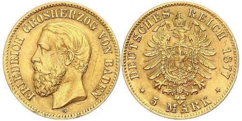 5 Mark Grand Duchy of Baden (1806-1918) Gold Frederick I, Grand Duke of Baden (1826 - 1907)